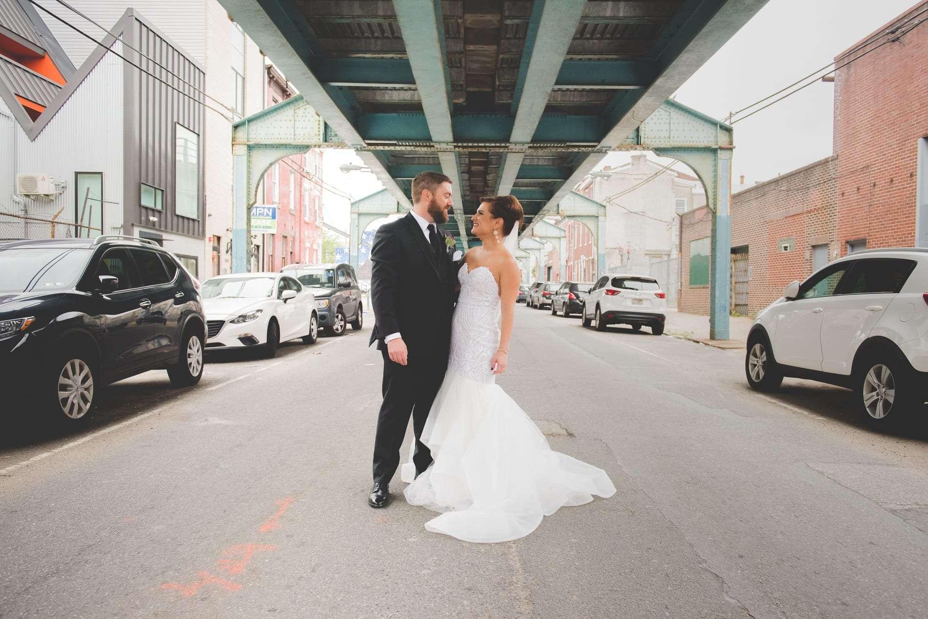 Fishtown wedding photos bride and groom portraits