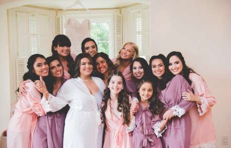 Bride and bridesmaids pink robes