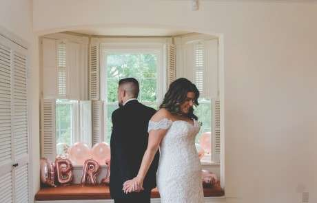 Bride and groom first look philadelphia wedding photographer