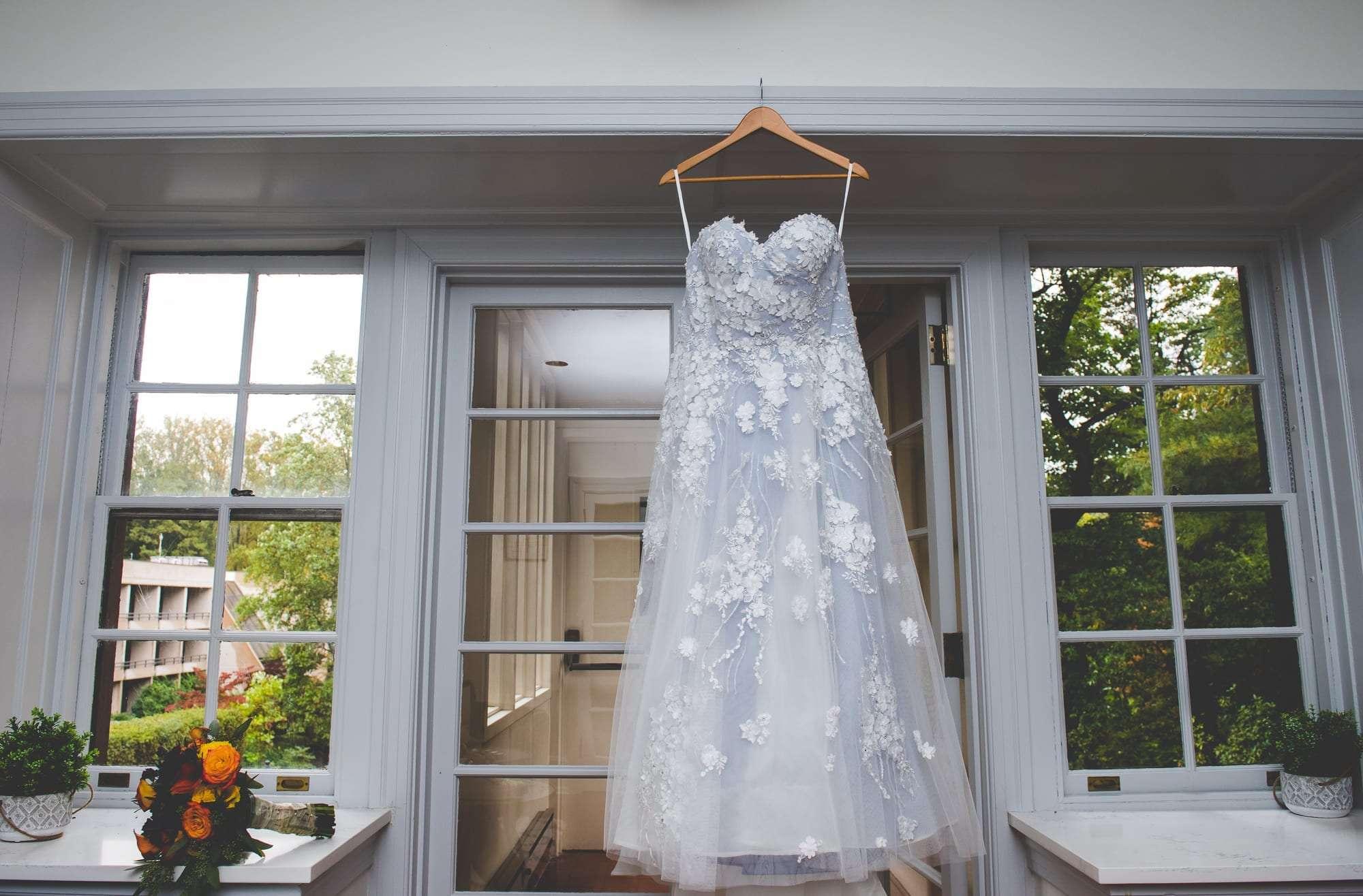 Elizabeth Johns wedding dress adrmore PA wedding photography Villanova Inn