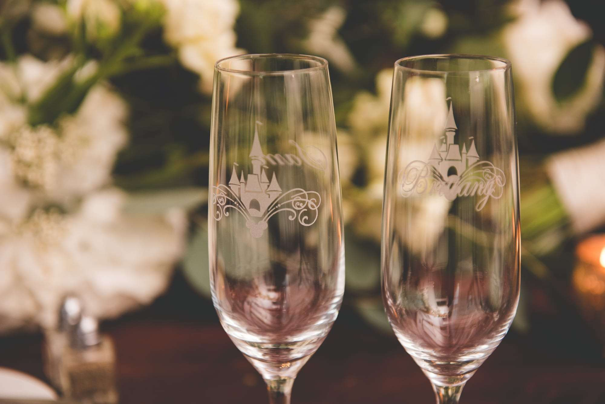 Disney theme champange flutes