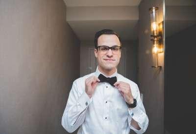 Groom getting ready at the Loews hotel Philadelphia