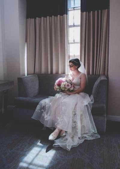 Bride in BHLDN wedding dress Philadelphia wedding photography