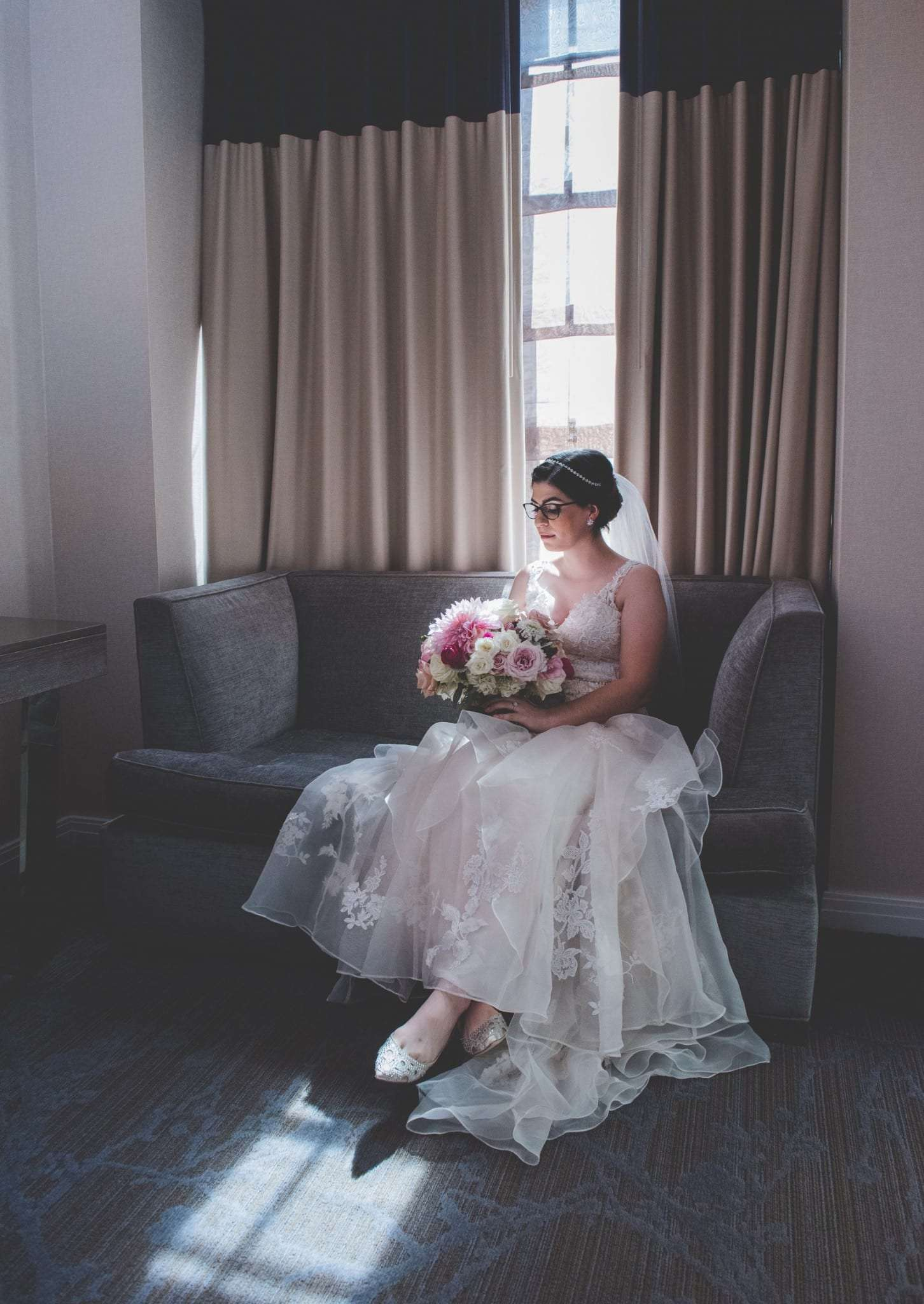 Bride in BHLDN wedding dress Philadelphia wedding photography