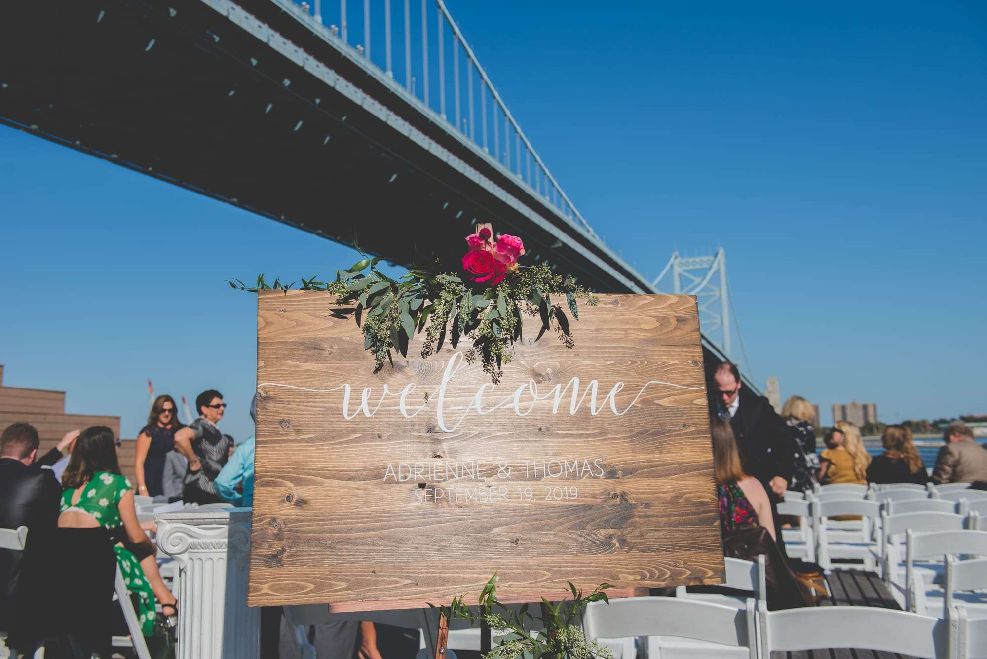 Wedding ceremony at Race Street Pier in Philadelphia