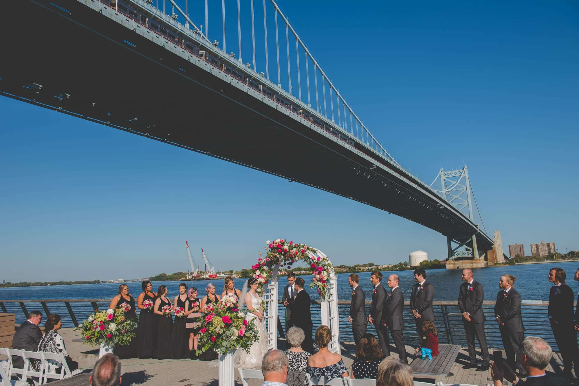 Amazing wedding views in Philadelphia race street pier