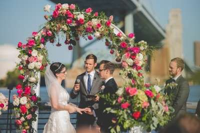 Beautiful red flowers wedding ceremony philadelphia