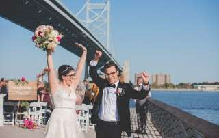 married at race street pier philadelphis wedding ceremony