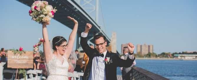married at race street pier philadelphis wedding ceremony