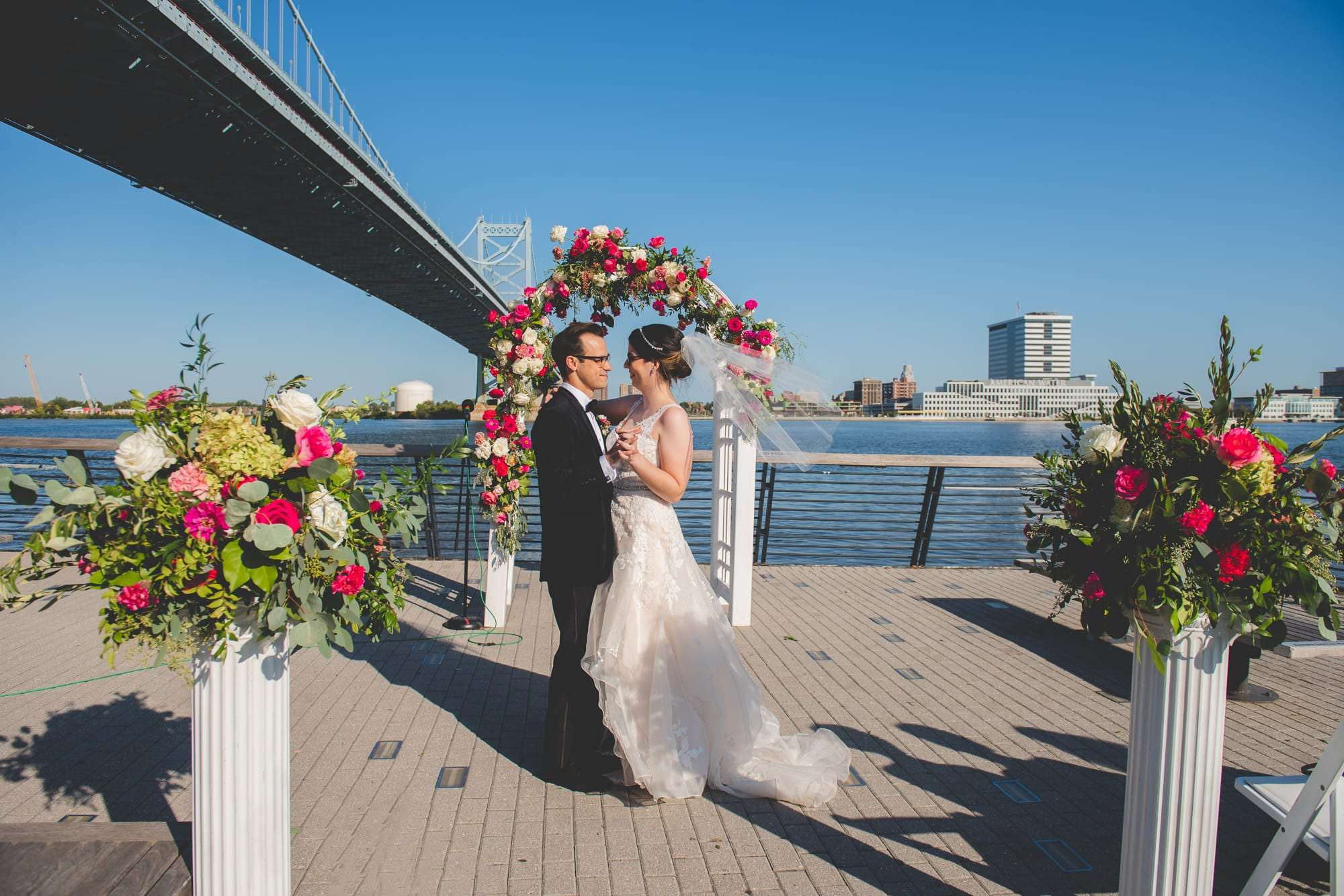 Philadelphia wedding photography at Race street pier phillt