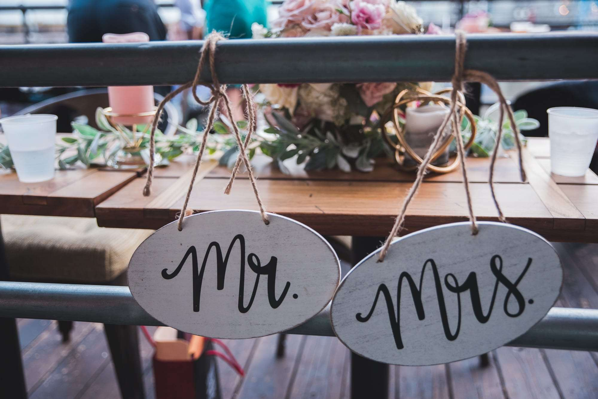 wooden Mr and mrs wedding signs for reception