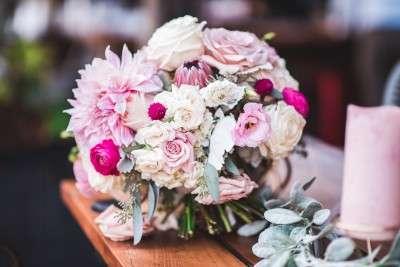 Jennifer Designs bride bouquet pink flowers