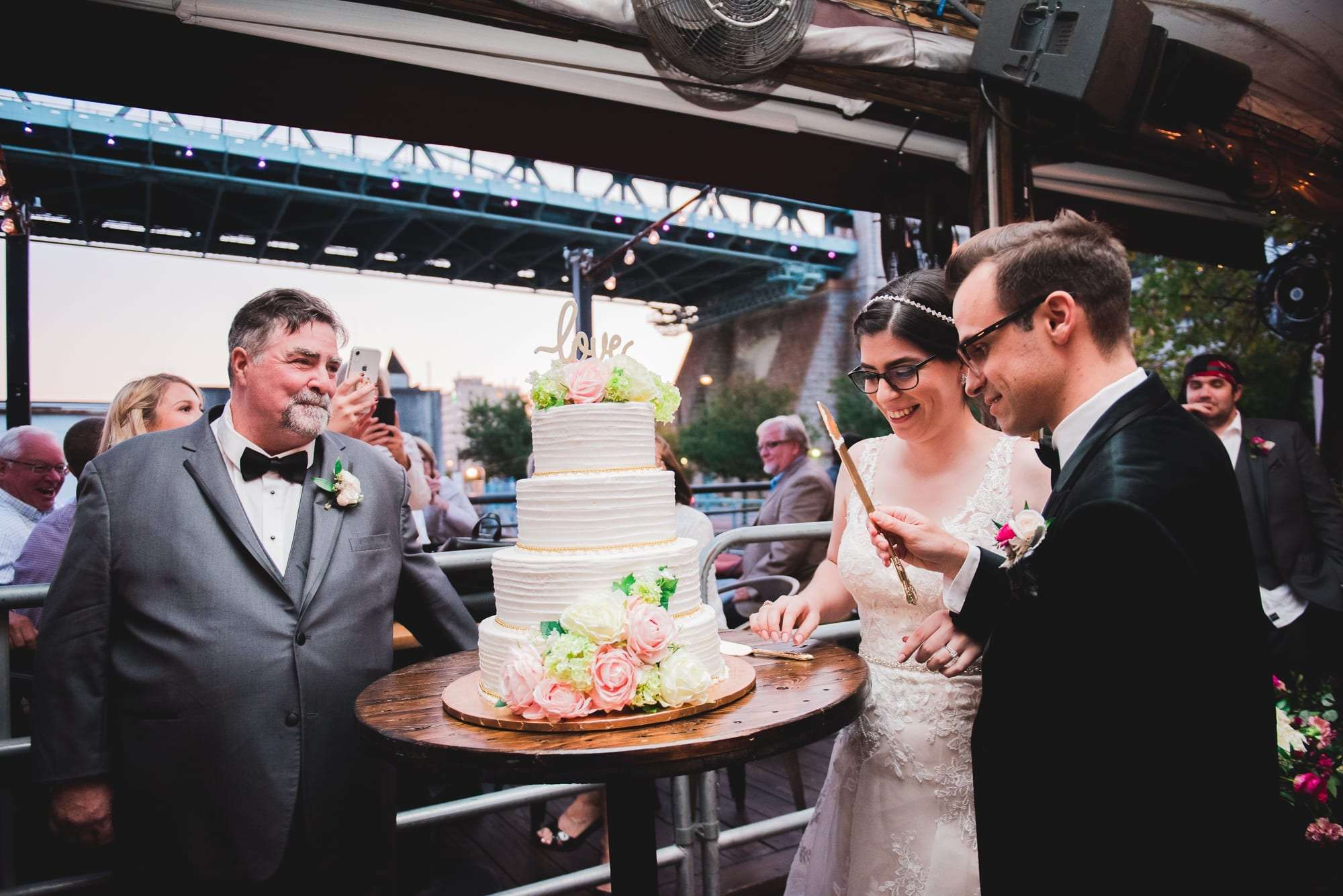 rent out morgan street pier for wedding cake cutting