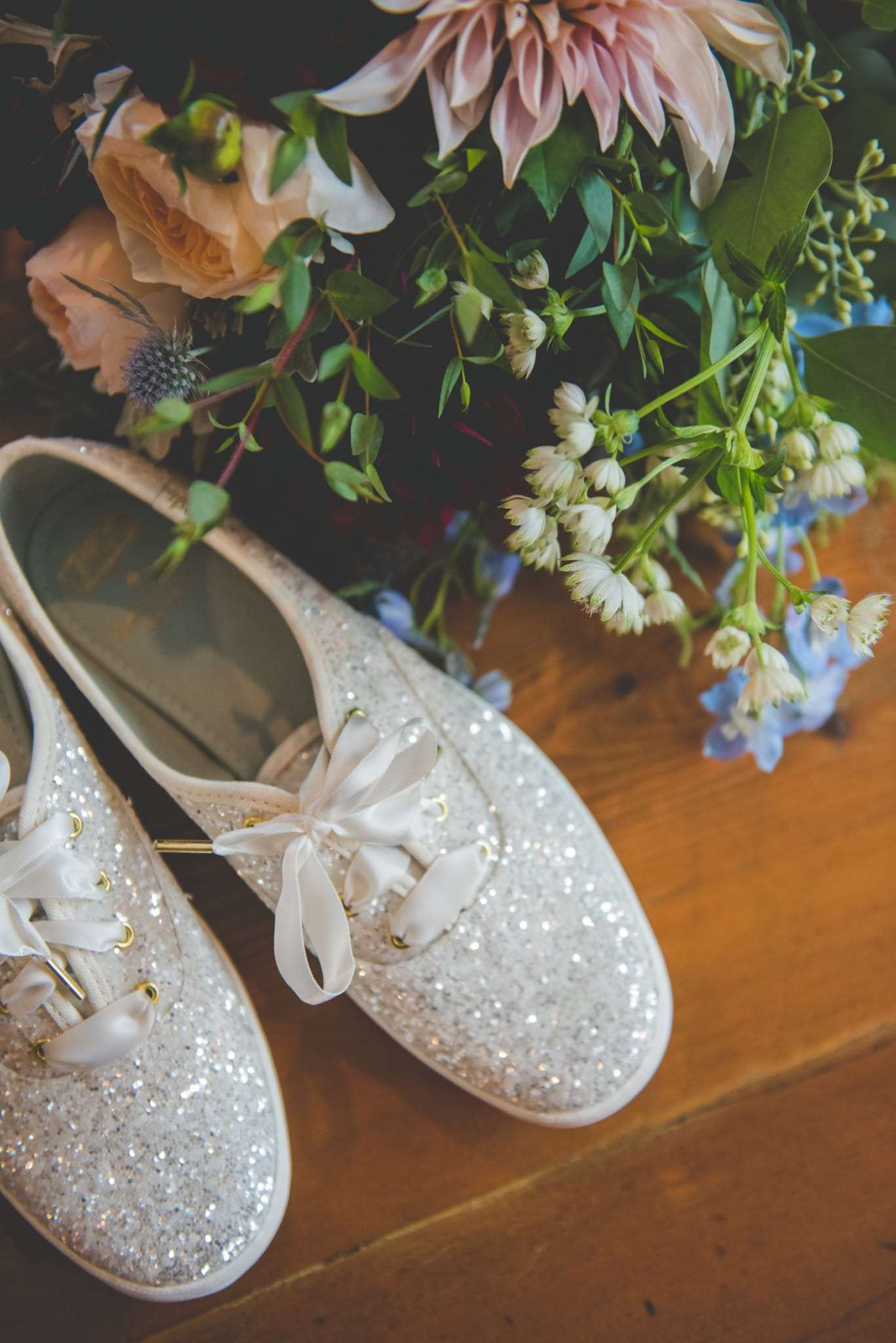 sparkly wedding sneakers Painted Tulip bride bouquet