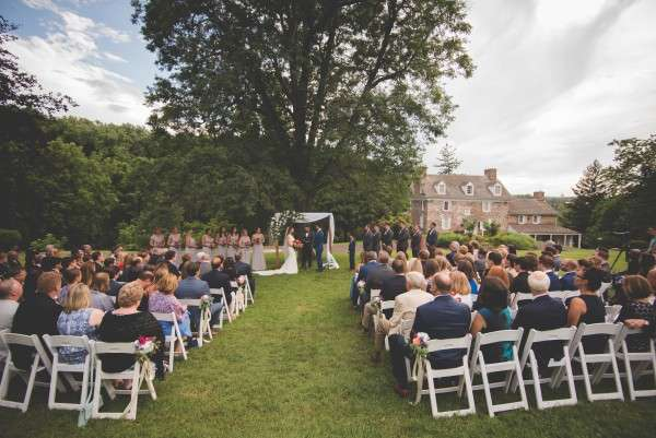 ceremony at John Jame audubon center wedding philadelphia area