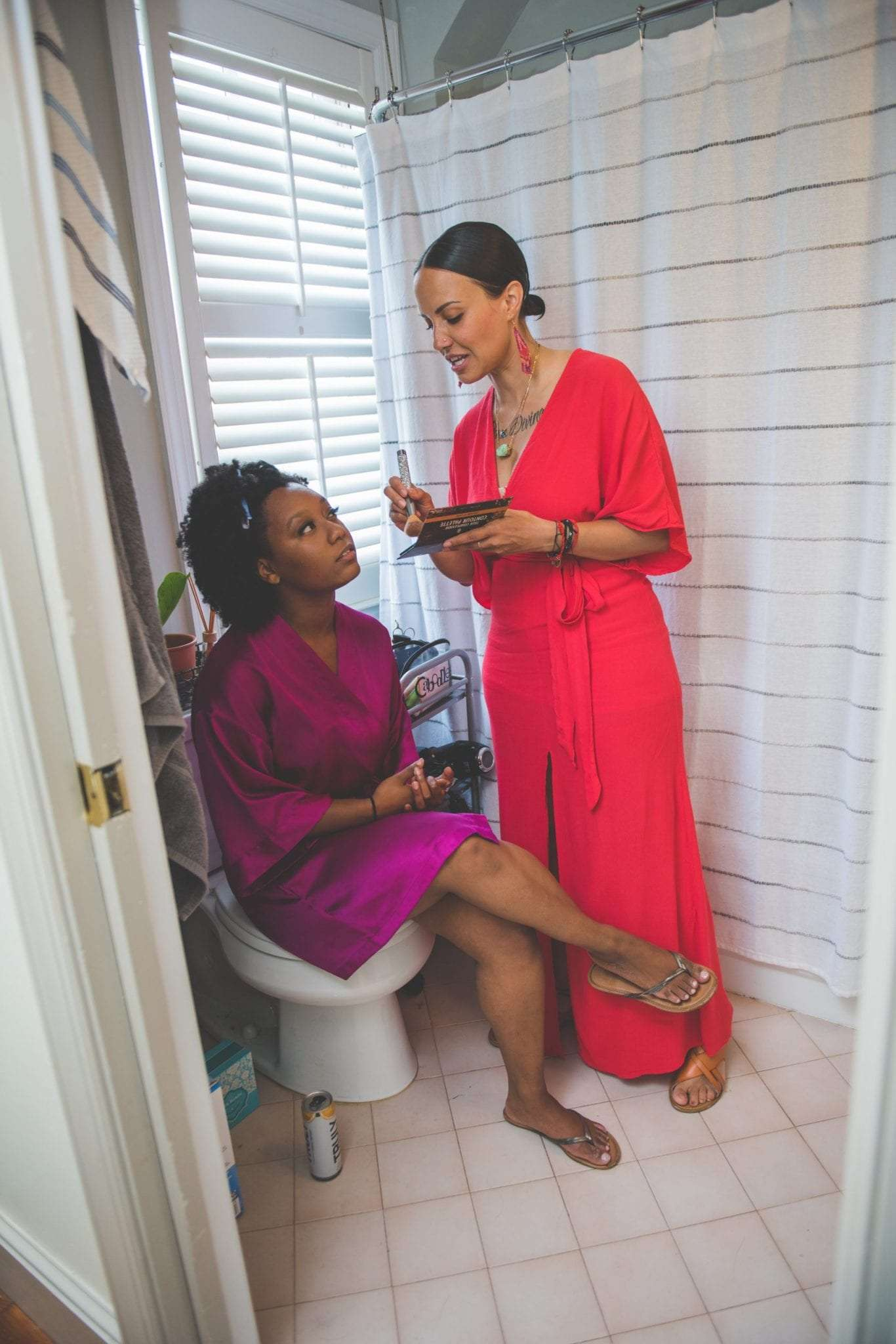 bride getting ready at home social distancing wedding in NJ