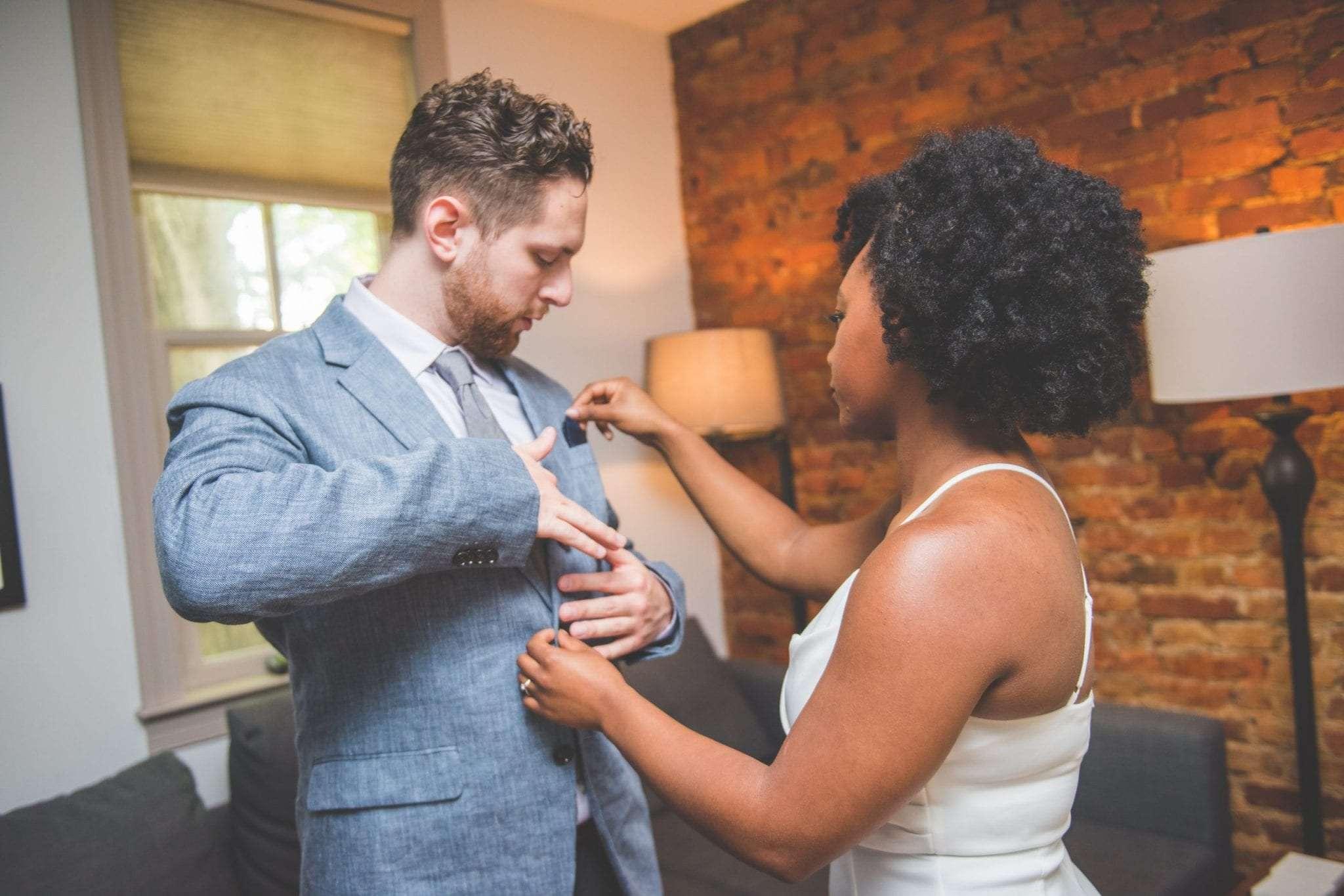 Bride and groom getting ready together backyard wedding in NJ