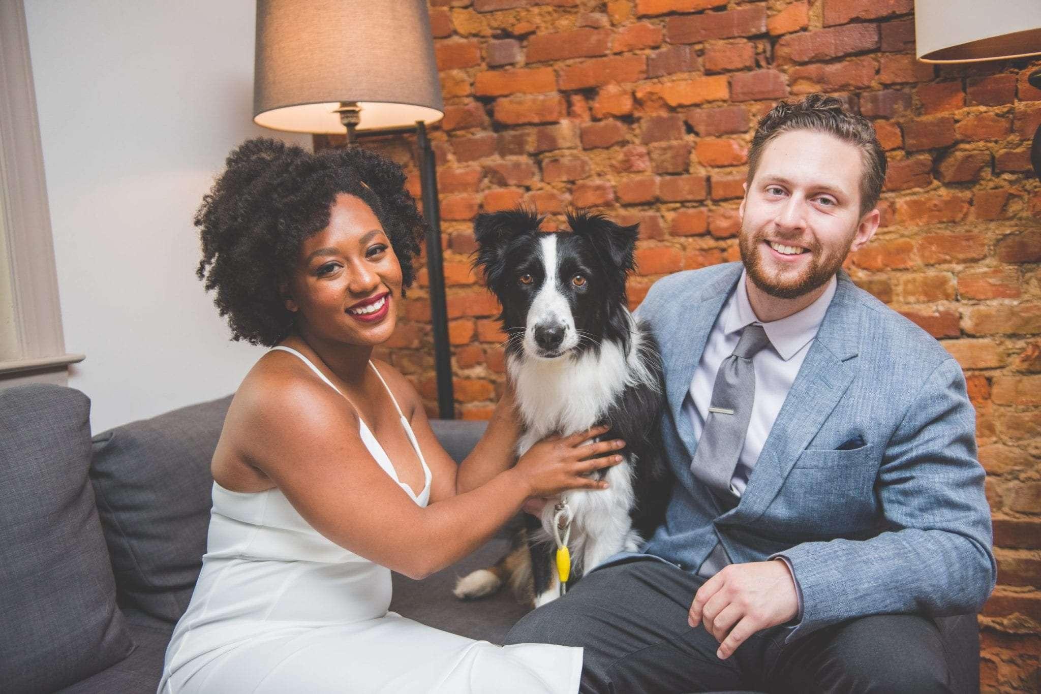 NJ backyard Micro wedding portrait with dog