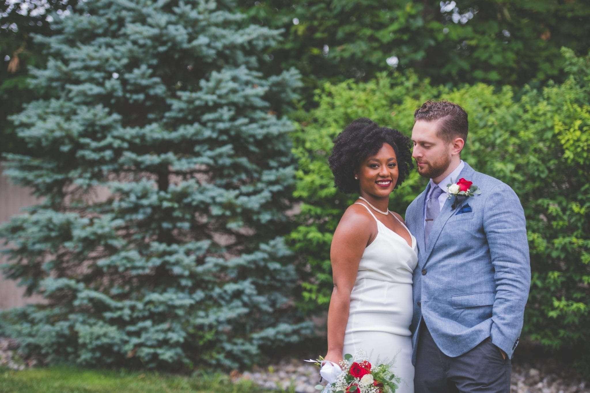 NJ backyard Micro wedding bride and groom portrait