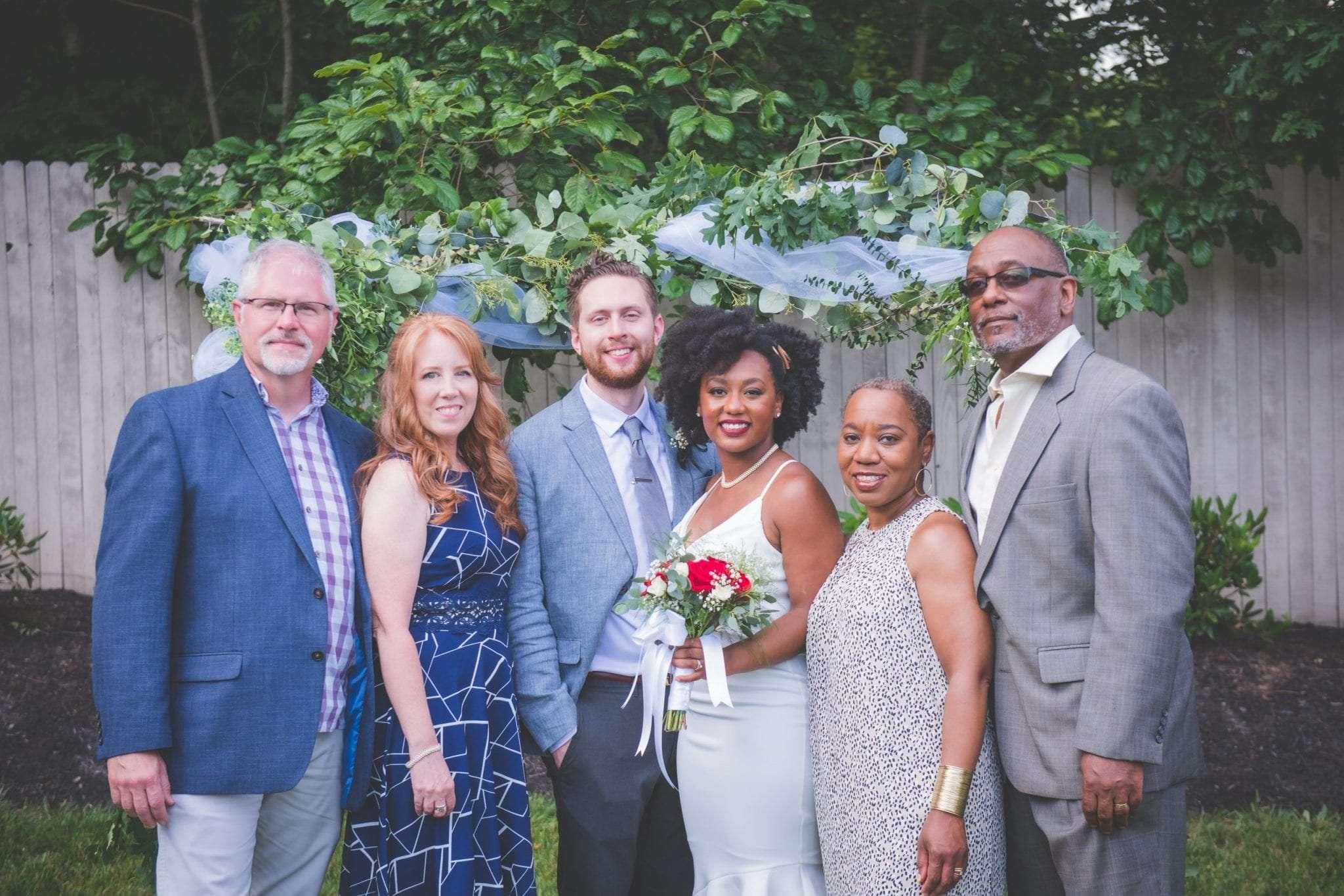 family photos NJ backyard Micro wedding