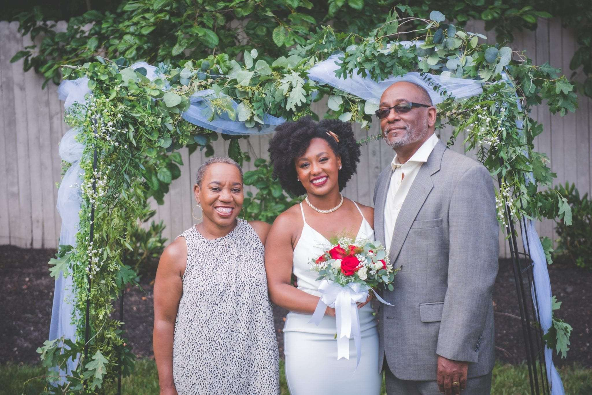 NJ backyard Micro wedding family portraits