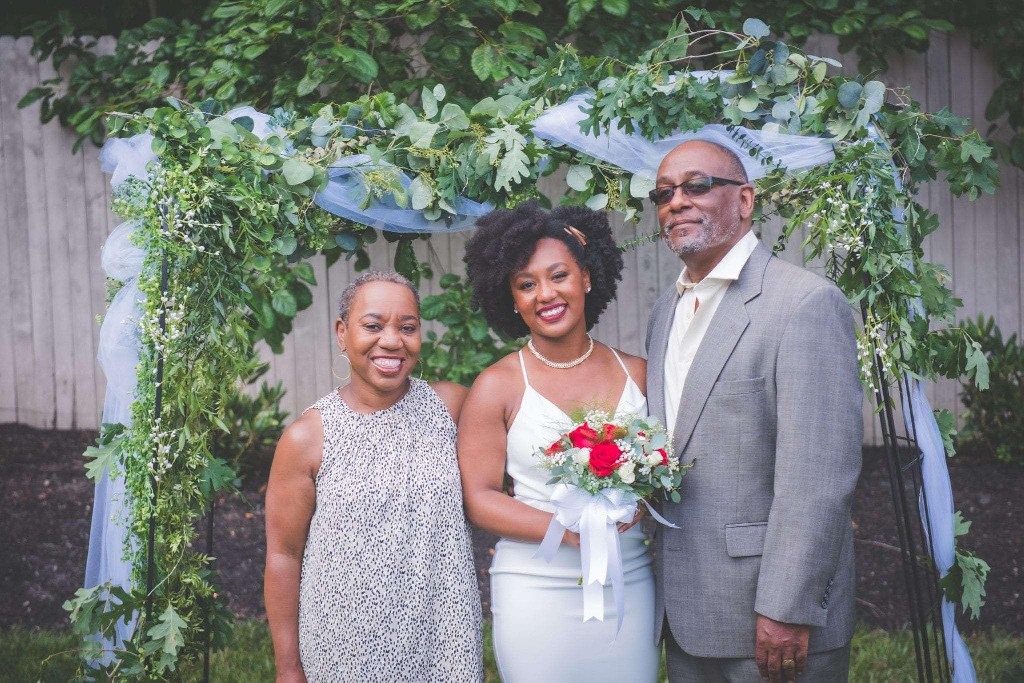 NJ backyard Micro wedding family portraits