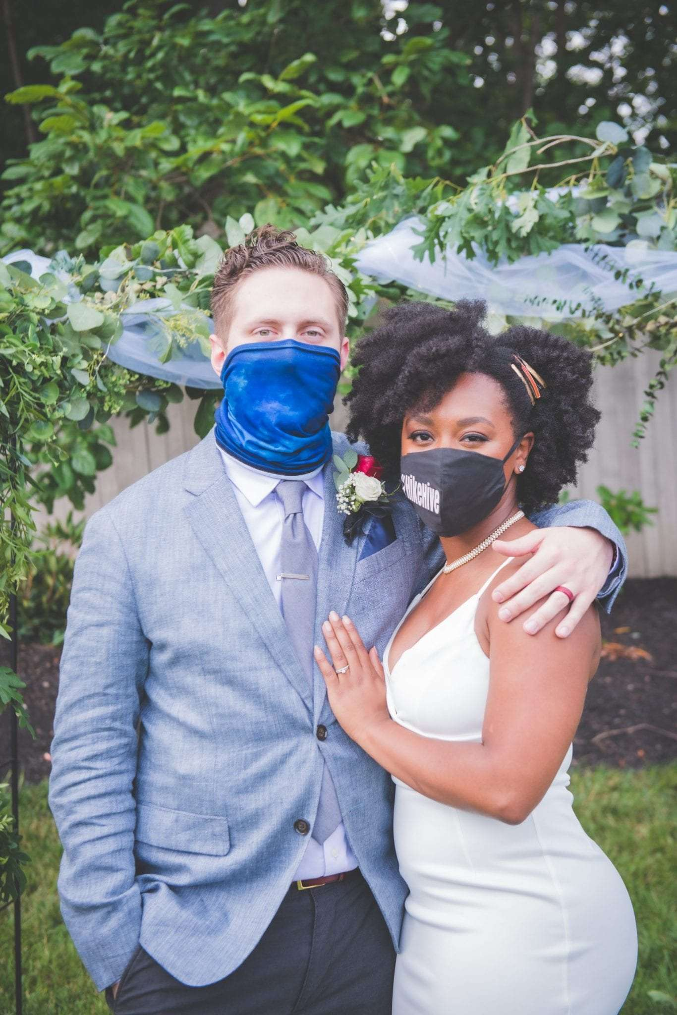 NJ backyard Micro wedding with masks