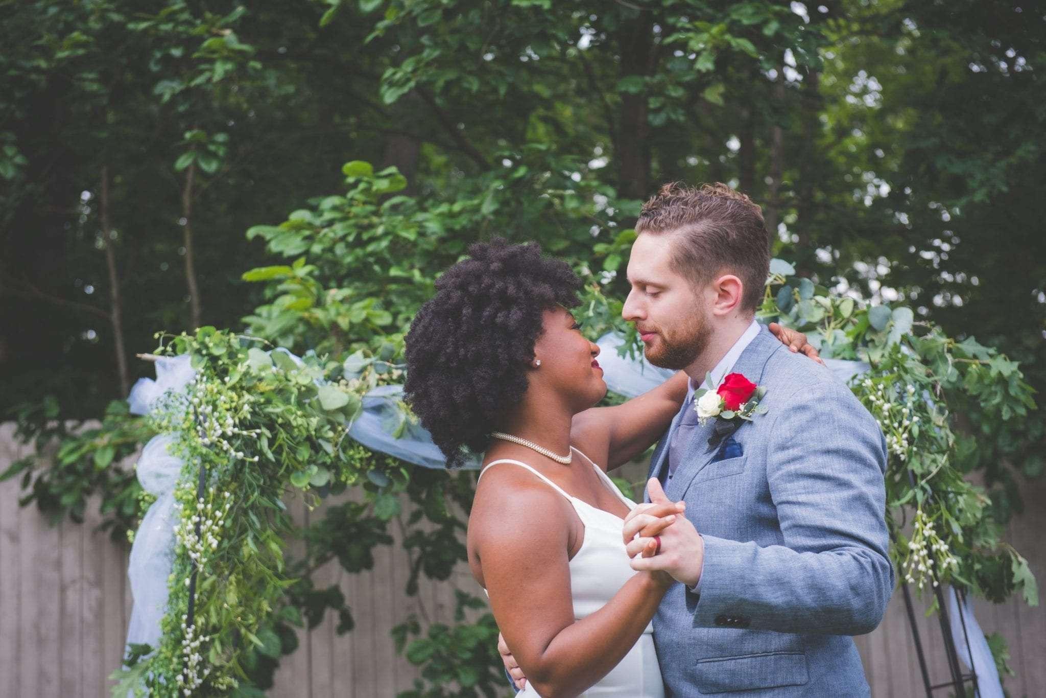 bride and groom dance NJ backyard Micro wedding