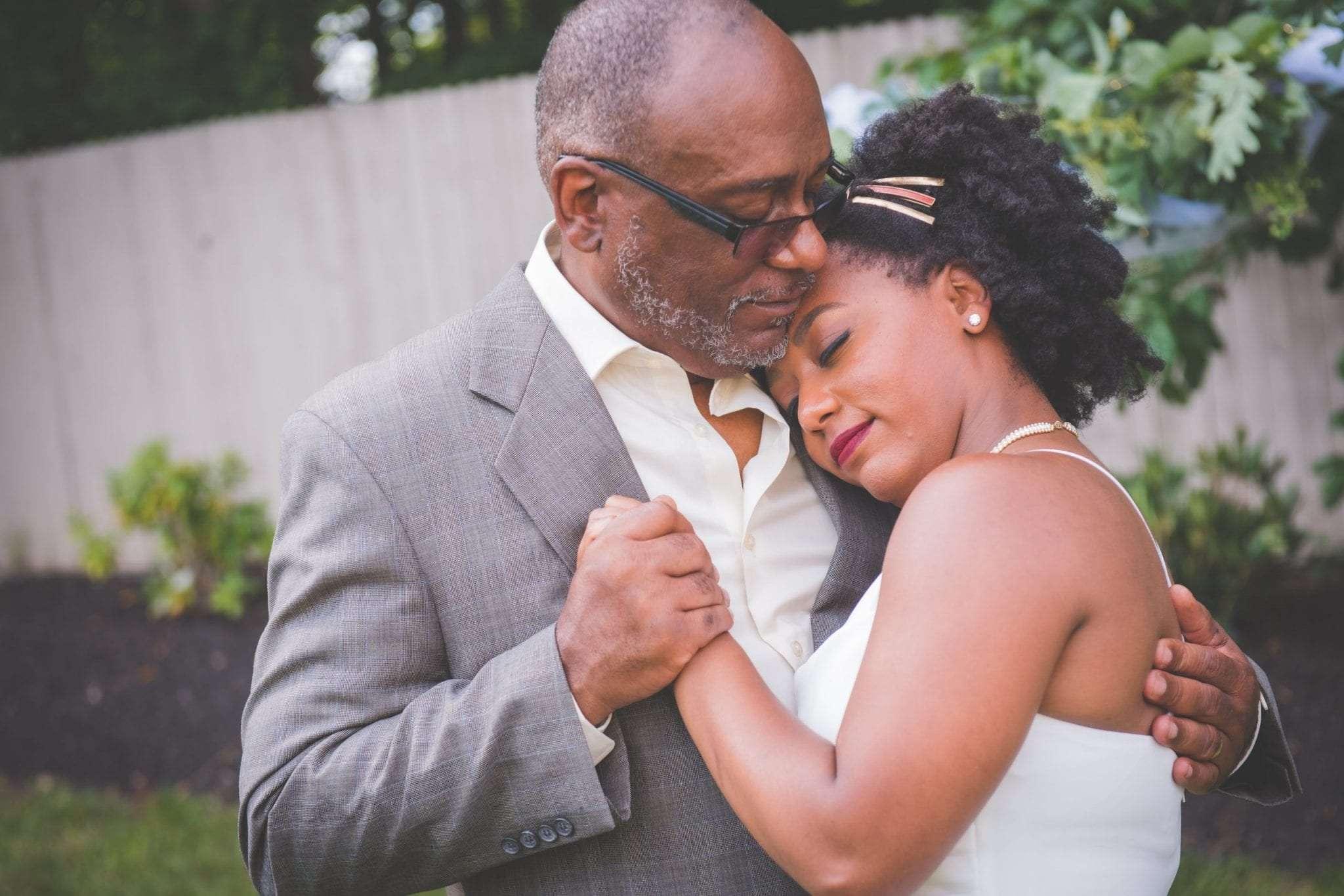 Bride and father dancing backyard wedding photography