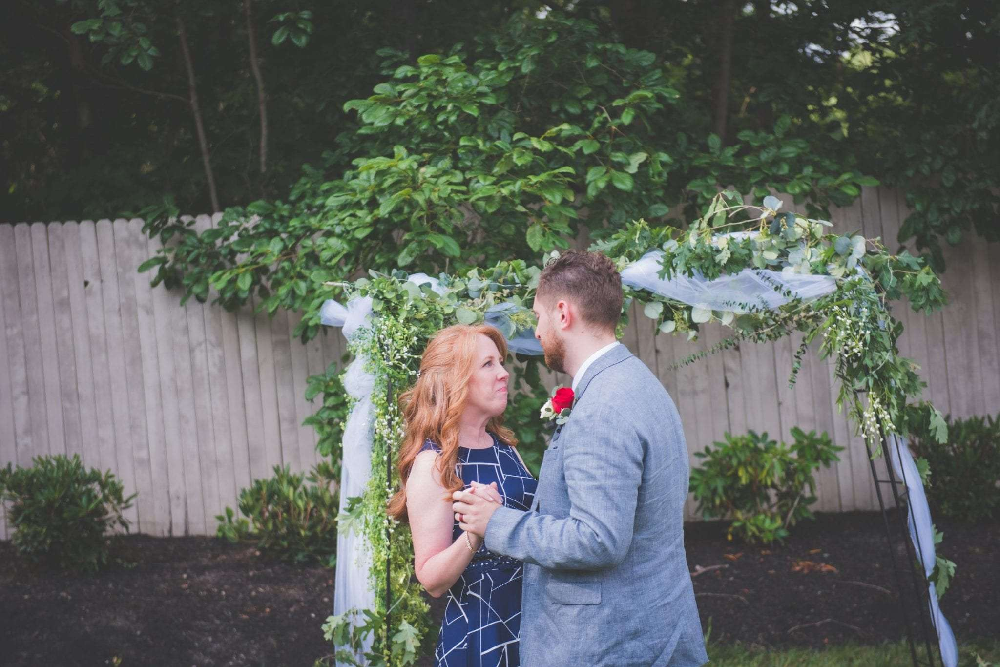 Groom dancing with mom social distancing wedding in NJ
