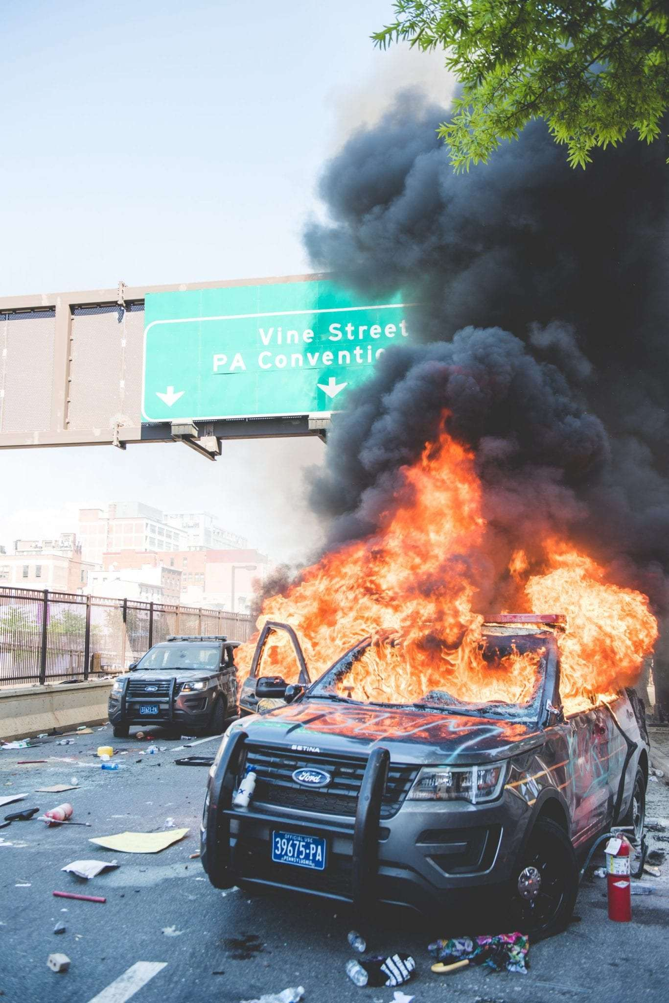 Philadelphia Black Lives Matter Protest Photography cop car on fire